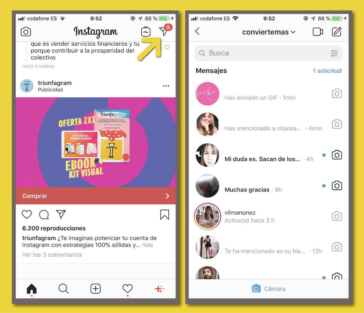mensajes directos en Instagram